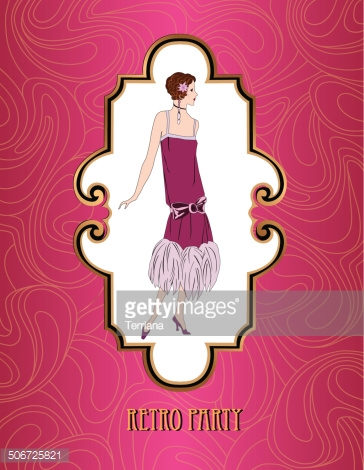 Retro Party Postcard. Girl in 1930s Fashion Style