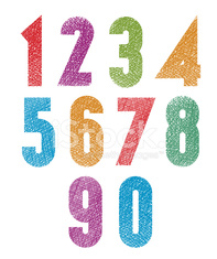 Retro style geometric bold numbers set with hand drawn texture