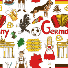 Sketch Germany seamless pattern
