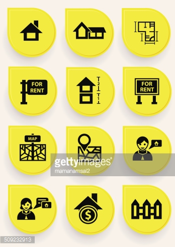 House icons on yellow button,vector