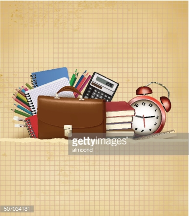 Back to school Background with supplies and old paper