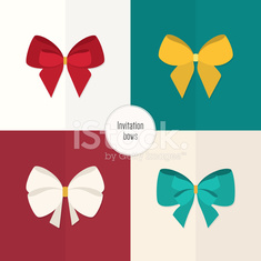 Set of flat colored bow for your invitations