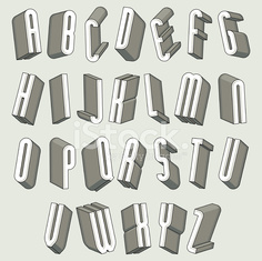3d font, thin and tall dimensional letters set.
