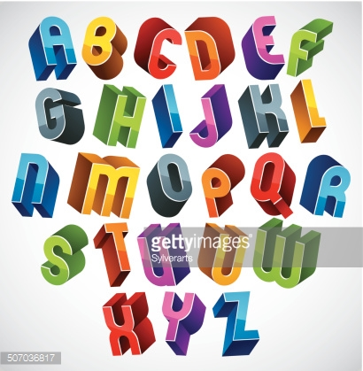 3d font, vector colorful glossy letters.