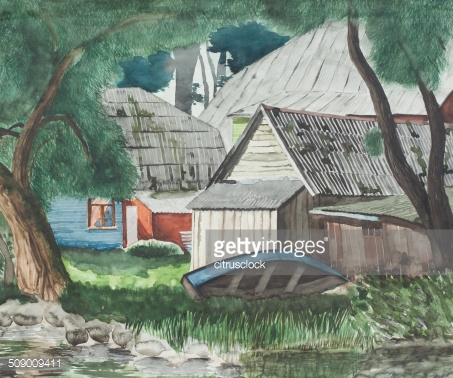 Watercolor landscape with a boat and house