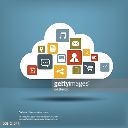Cloud computing application concept with icons in the cloud and