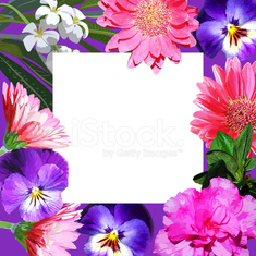 square frame with bright realistic flowers closeup