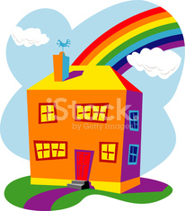 house with rainbow