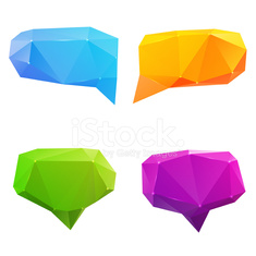 Set of abstract speech balloons of crystal glass