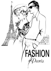 Fashionable couple strolling and shopping in Paris