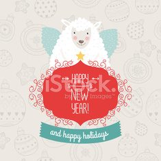 Christmas sheep with greeting label and ribbon