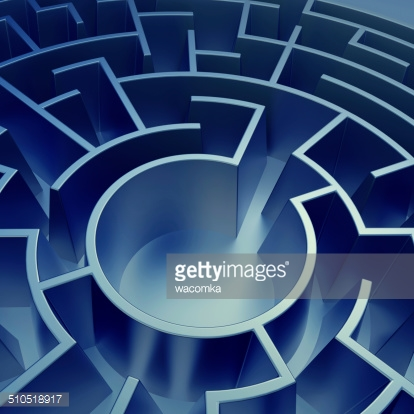 3d blue abstract round maze background