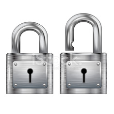 Set, icon padlocks open and closed. Metal structure
