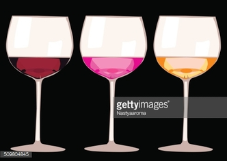 three glasses with wine and champagne isolated on white