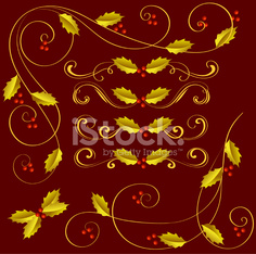 Holly berries gold ornaments