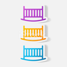 Paper clipped sticker: cot