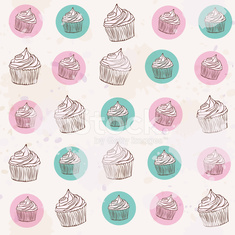 vintage pattern with cupcakes