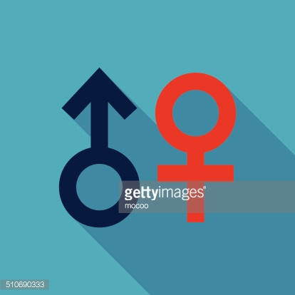 Gender symbol Flat style Icon with long shadows