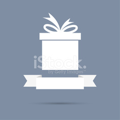 Gift box with ribbon. flat design.