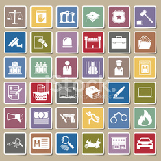 Law and police icon Sticker set