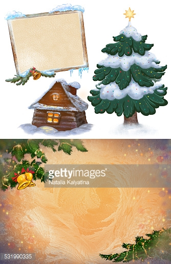Christmas and New Year collection. Symbols, background and frame.