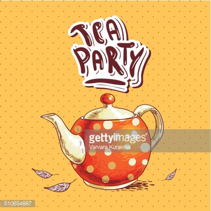 Tea Party Invitation Card With A Cups And Pot Stock Photos