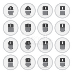Vector of flat icon, computer mouse set