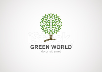 Green circle tree vector logo design template.