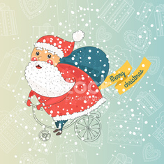 Christmas card with santa on bike, with snow background