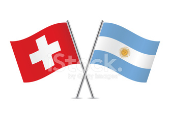 Argentinian and Swiss flags. Vector.