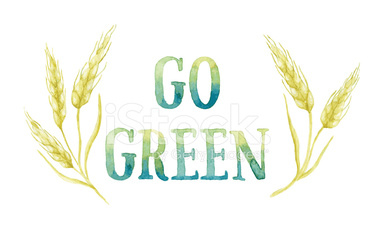 GO GREEN painted with watercolor with ears of wheat