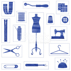 Blue isolated sewing and tailoring symbols with stitched border