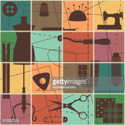 Tiled seamless pattern with sewing symbols on textured background