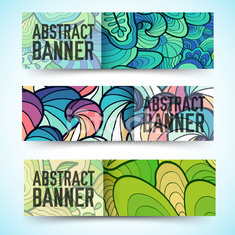 abstract ornament horizontal banners concept
