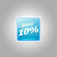 Save 10 Percent Glossy Shiny Square Vector Button