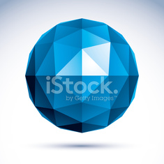 3D polygonal geometric object, vector abstract design element