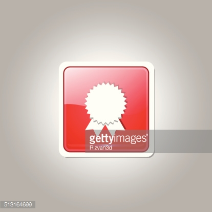 Medal Square Vector Red Web Icon Button