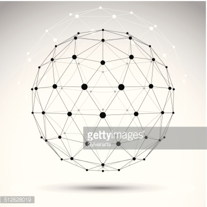 Abstract geometric 3D wireframe object, vector illustration
