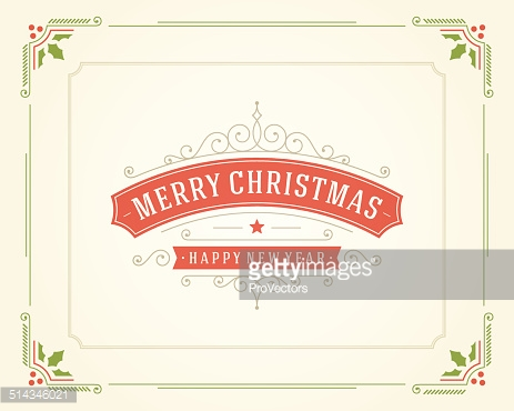 Christmas retro typographic and ornament decoration