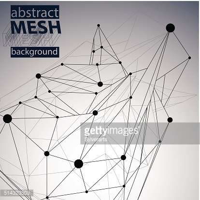 Geometric monochrome polygonal structure with wire mesh, modern