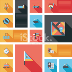 travel flat icons vector ui with long shadow