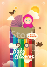Colorful baby shower illustration with a baby girl.