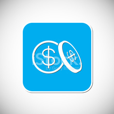 Money coin icon. Blue Square Frame. Vector Illustration