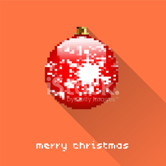Merry Christmas pixel art style ball poster for party