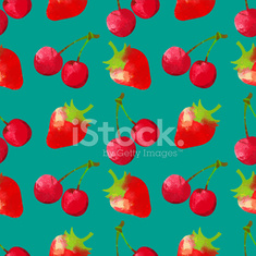 Seamless pattern with watercolor cherry and strawberry