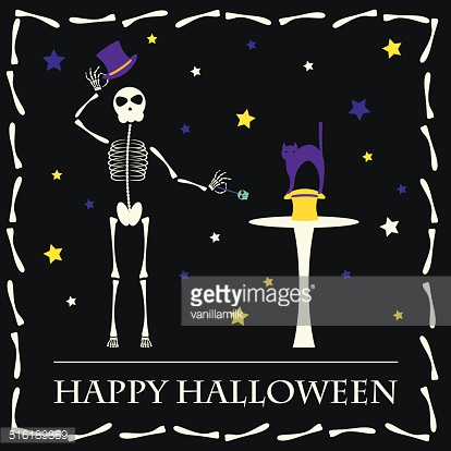 Halloween vector background with illusionist skeleton