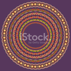 set of round geometrical frames, circle border ornament, vector
