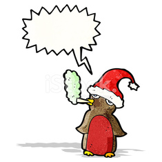 cartoon christmas robin smoking cigarette