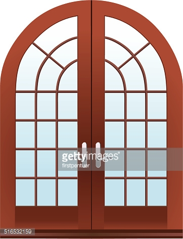 Vector version of closed two parts wooden halfmoon doors