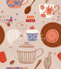Tea time Poster. Including tea, flower, cupcake and fruits.